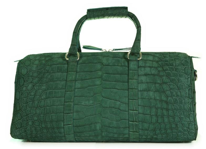 Aino Petite - Duffel Bag in Nile Crocodile - Suede Green