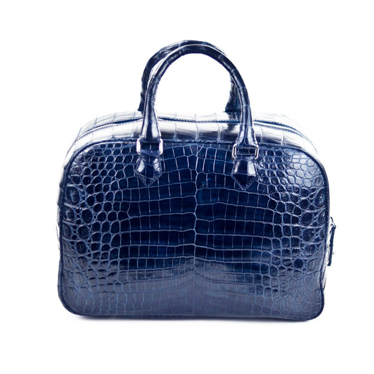 Bridget - Nile Crocodile Belly Satchel Bag - Dark Blue