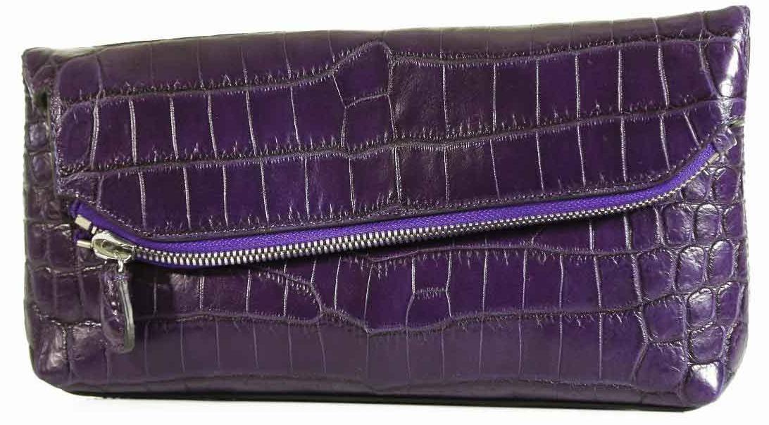 Fold Over Angled Clutch - Nile Crocodile with Matte Waxy finish in Purple