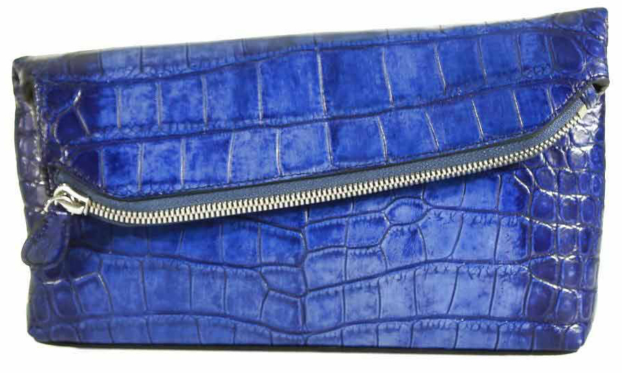 Fold Over Angled Clutch - Freshwater Crocodile with Matte Waxy finish in Ombre Blue