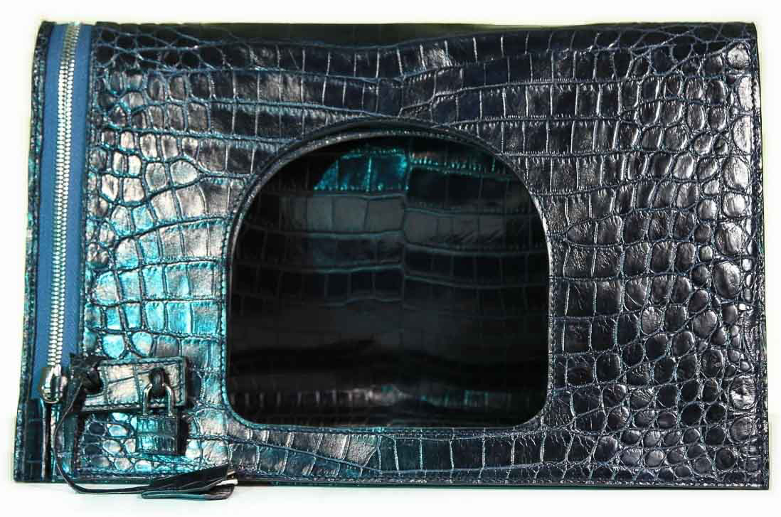Fold Over Large Shoulder Bag - Nile Crocodile with Glazed Finish in Navy