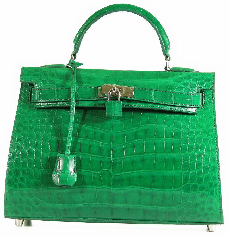 Grace 32 - Freshwater Crocodile in Kelly Green with Shoulder Strap & Matching Zippered Wallet