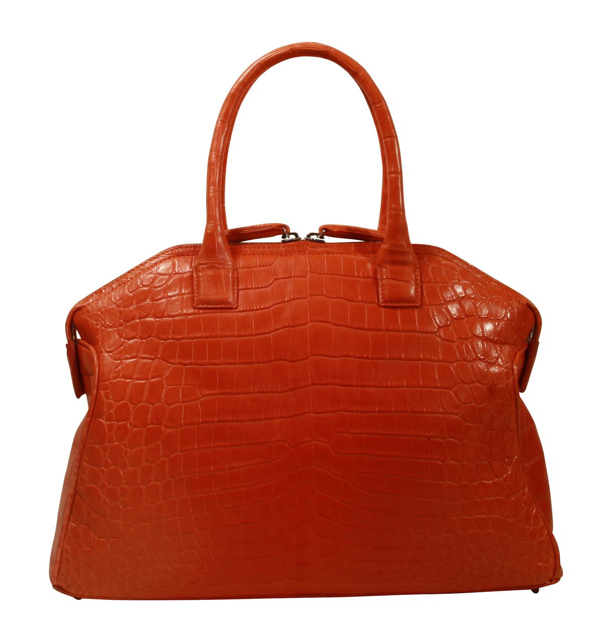 Italo - Nile Crocodile Bowling Bag - Orange