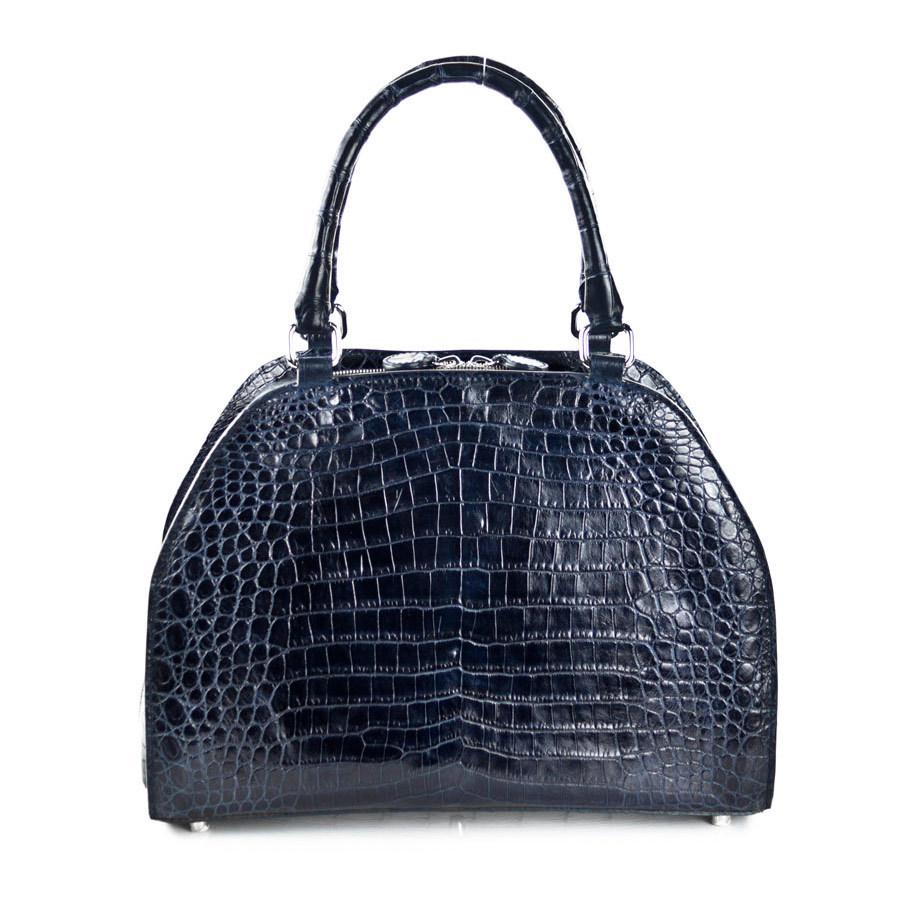 Rosa - Nile Crocodile Belly Satchel Bag - Blue