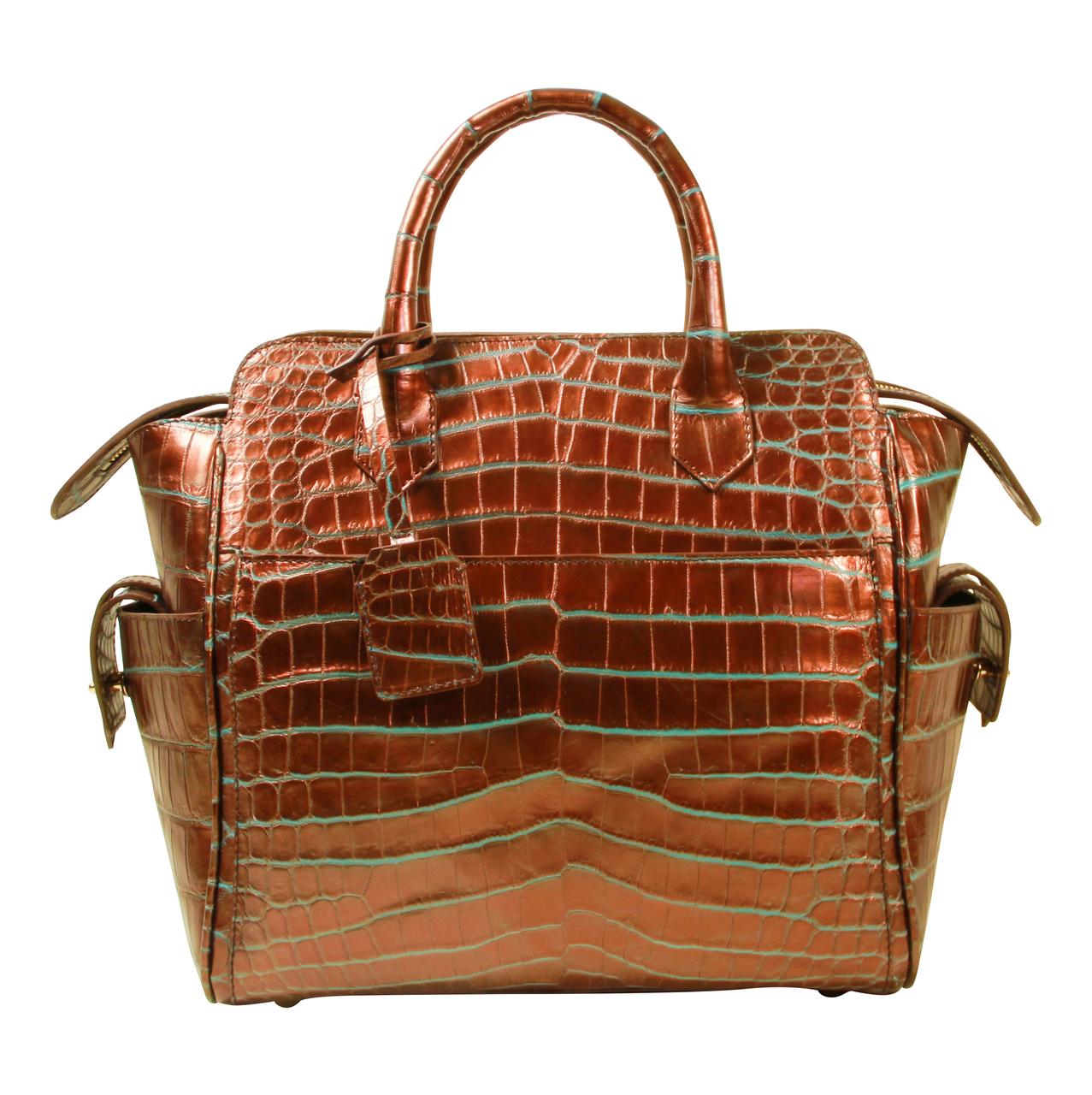Trapeze Leveler - Nile Crocodile Satchel Bag - Two Tone Bronze