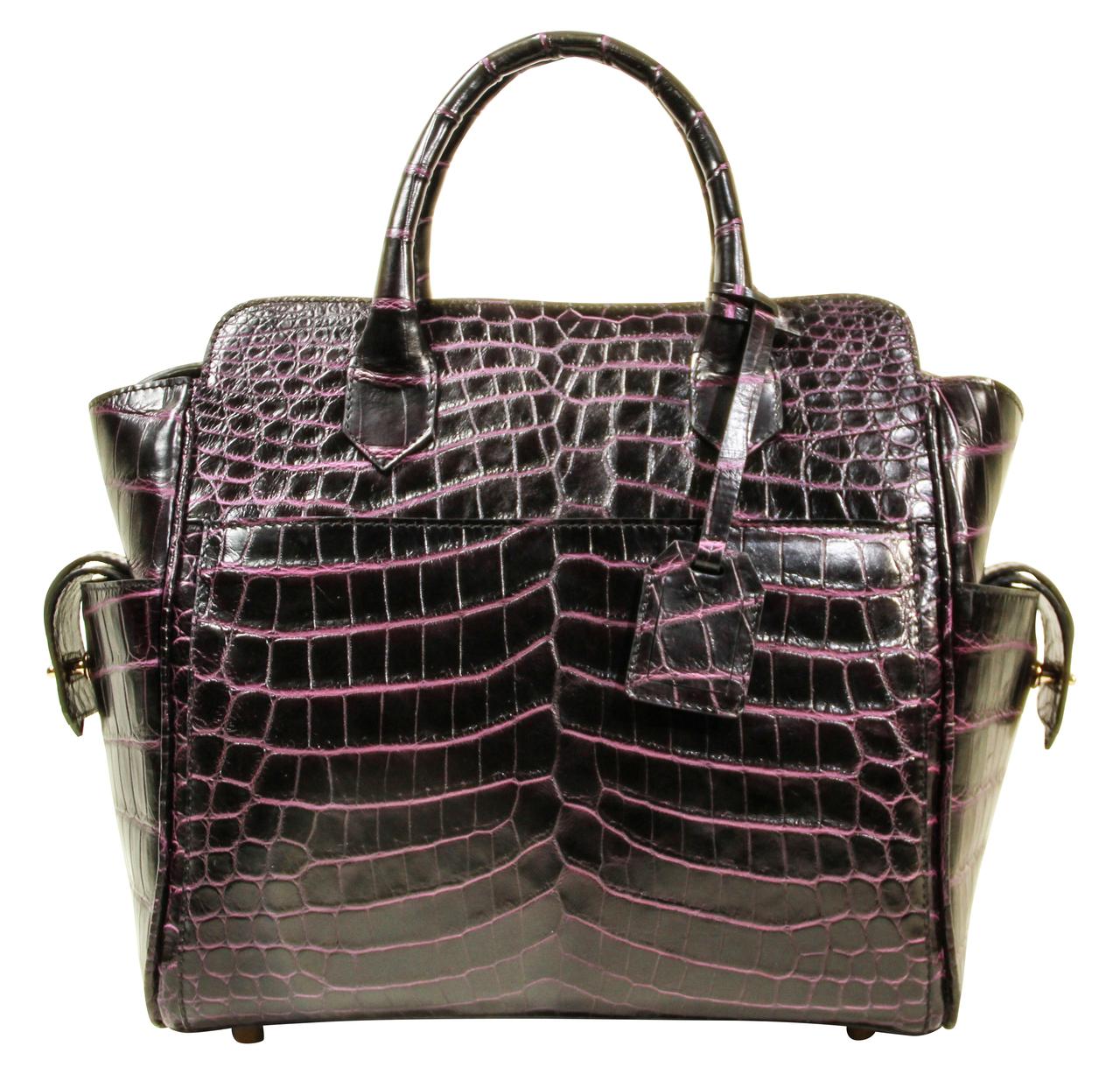 Trapeze Leveler - Nile Crocodile Satchel Bag - Two Tone Purple