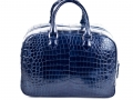 Bridget - Nile Crocodile Belly Satchel Bag - Dark Blue