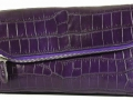 Fold Over Angled Clutch - Nile Crocodile with Matte Waxy finish in Purple