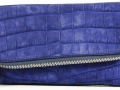 Fold Over Angled Clutch - Nile Crocodile with Suede Finish in Blue