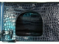 Fold Over Large Shoulder Bag - Nile Crocodile with Glazed Finish in Navy