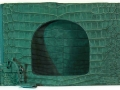 Fold Over Large Shoulder Bag - Green Buffed- Suede Nile Crocodile
