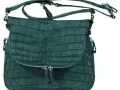 Zippered Messenger Saddle Bag - Nile Crocodile Belly in Suede Green