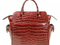 Trapeze Leveler - Nile Crocodile Satchel Bag - Two Tone Cognac